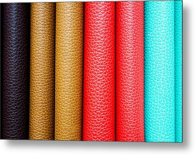 Leather Background  Metal Print by Tom Gowanlock