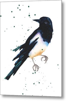 Magpie Painting Metal Print by Alison Fennell