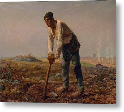 Man With A Hoe Metal Print by Jean Francois Millet
