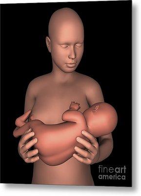 Mother Breastfeeding Baby Metal Print by Stocktrek Images