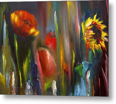 Poppy And Sunflower Metal Print by Jeff Hunter