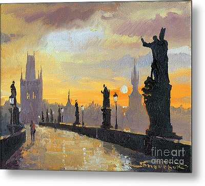Prague Charles Bridge 01 Metal Print by Yuriy  Shevchuk