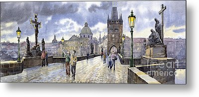 Prague Charles Bridge Metal Print by Yuriy  Shevchuk