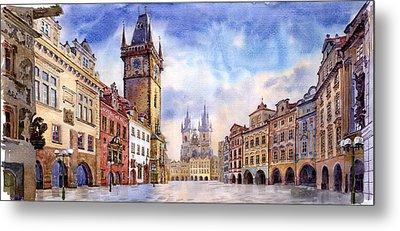 Prague Old Town Square Metal Print by Yuriy  Shevchuk