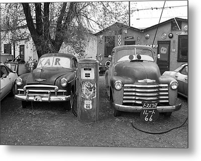 Route 66 - Snow Cap Drive-in Metal Print by Frank Romeo