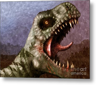 T-rex  Metal Print by Pixel  Chimp