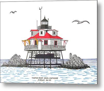 Thomas Point Shoal Lighthouse Metal Print by Frederic Kohli