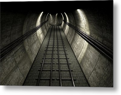 Train Tracks And Tunnel Metal Print by Allan Swart