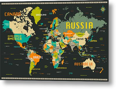 World Map Metal Print by Jazzberry Blue