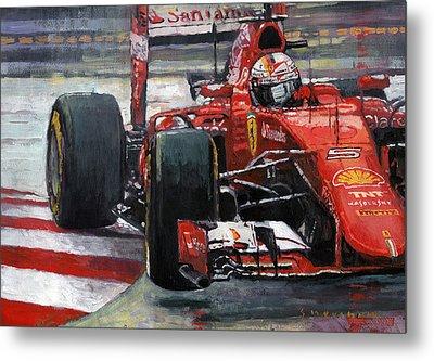 2015 Hungary Gp Ferrari Sf15t Vettel Winner Metal Print by Yuriy Shevchuk