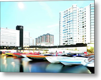 2016 Early Morning Poker Run Boats Overexposed And Massaged Metal Print by Paul Wash