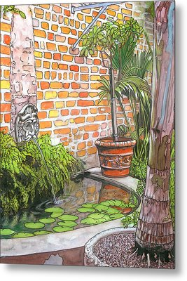 21   French Quarter Courtyard With Reflection Pool Metal Print by John Boles