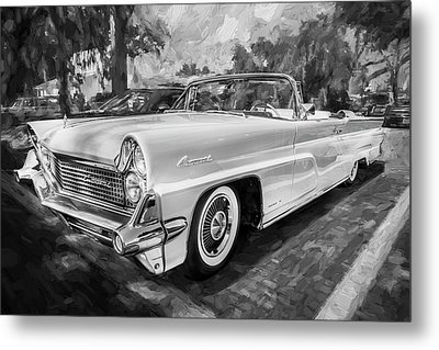 1959 Lincoln Continental Town Car Mk Iv Painted Bw   Metal Print by Rich Franco