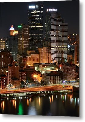 A Pittsburgh Night Metal Print by Frozen in Time Fine Art Photography