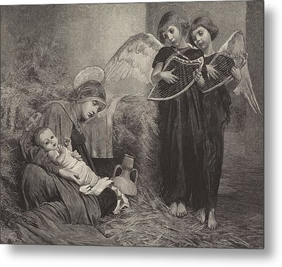 Angels Entertaining The Holy Child Metal Print by Marianne Stokes