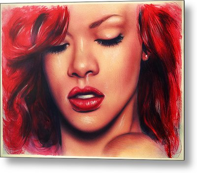beautiful airbrush portrait of Rihanna with red hair and a face close up Metal Print by Jozef Klopacka