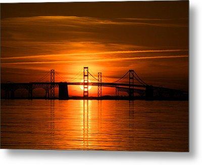 Chesapeake Bay Bridge Sunset Metal Print by Mark  Dignen