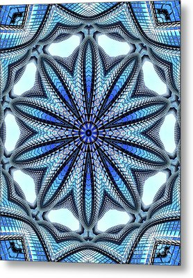 Colorful Blue Kaleidoscopic Design Metal Print by Amy Cicconi