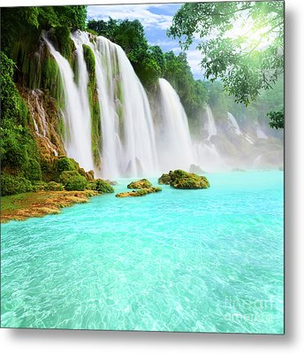 Detian Waterfall Metal Print by MotHaiBaPhoto Prints