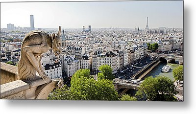 Gargoyle Guarding The Notre Dame Basilica In Paris Metal Print by Pierre Leclerc Photography