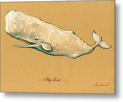 Moby Dick The White Sperm Whale  Metal Print by Juan  Bosco