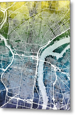 Philadelphia Pennsylvania City Street Map Metal Print by Michael Tompsett