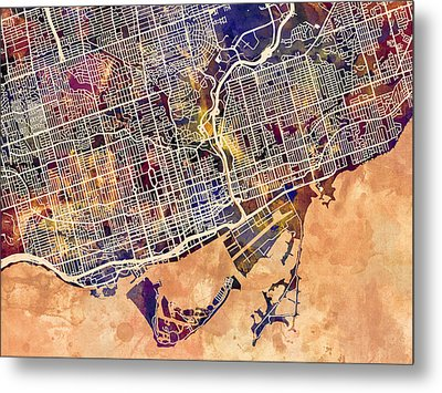 Toronto Street Map Metal Print by Michael Tompsett