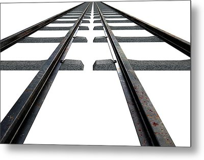 Train Tracks Isolated Metal Print by Allan Swart