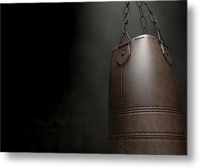 Vintage Leather Punching Bag Metal Print by Allan Swart