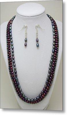 3562 Triple Strand Freshwater Pearl Necklace Set Metal Print by Teresa Mucha
