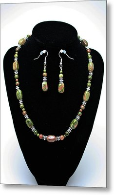 3565 Unakite Necklace And Earrings Set Metal Print by Teresa Mucha