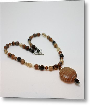 3574 Coffee Onyx Necklace Metal Print by Teresa Mucha
