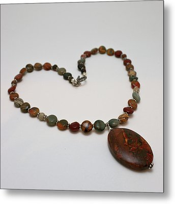 3600 Picasso Jasper Necklace Metal Print by Teresa Mucha