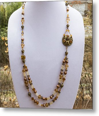 3615 Long Pearl Crystal And Citrine Necklace Featuring Vintage Brass Brooch  Metal Print by Teresa Mucha