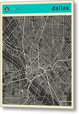Dallas Map Metal Print by Jazzberry Blue