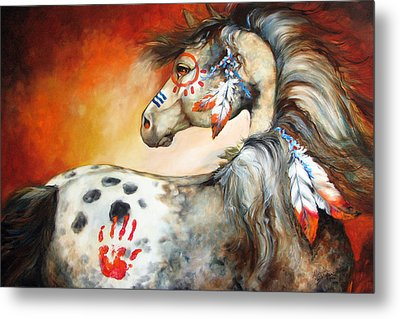 4 Feathers Indian War Pony Metal Print by Marcia Baldwin
