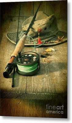 Fly Fishing Equipment With Old Hat On Bench Metal Print by Sandra Cunningham