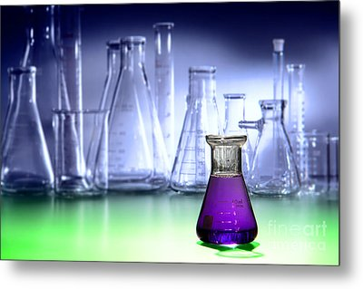 Laboratory Equipment In Science Research Lab Metal Print by Olivier Le Queinec