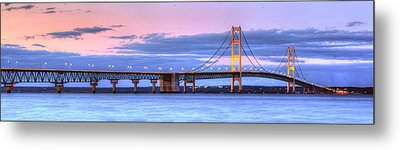 Mackinac Bridge In Evening Metal Print by Twenty Two North Photography