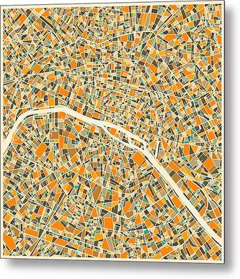 Paris Map Metal Print by Jazzberry Blue
