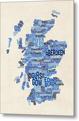 Scotland Typography Text Map Metal Print by Michael Tompsett