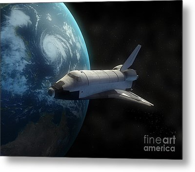 Space Shuttle Backdropped Against Earth Metal Print by Carbon Lotus