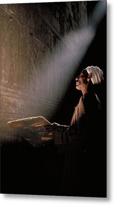 Temple Guide In Egypt Metal Print by Carl Purcell