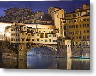 Vecchio Bridge At Night Metal Print by Andre Goncalves