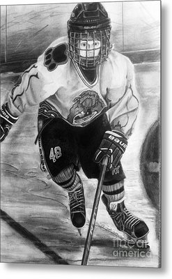 #48 Andrew Savona Squirt Aa Hatfield Ice Dogs Metal Print by Gary Reising