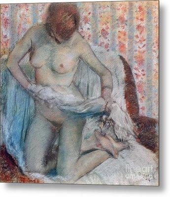 After The Bath Metal Print by Edgar Degas