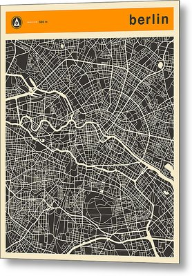 Berlin Map Metal Print by Jazzberry Blue
