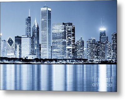 Chicago Skyline At Night Metal Print by Paul Velgos
