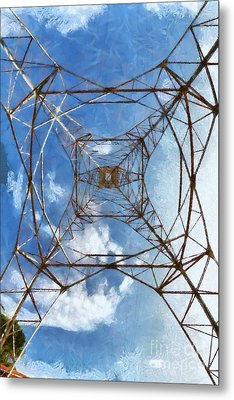High Voltage Pylon Metal Print by George Atsametakis