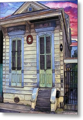 5  Shotgun House With Red Wreath Metal Print by John Boles